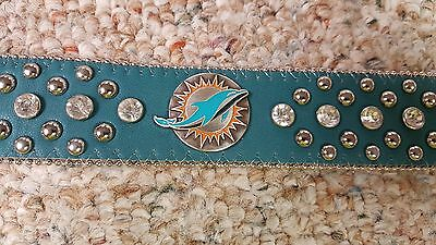 Miami DolphinsTeal Leather Belt Rhinestone Fancy Style Glitz Bling S M L XL XXL