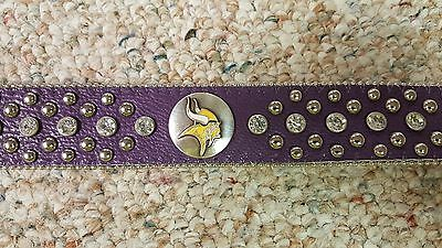 Minnesota Vikings Purple Leather Belt Rhinestone Fancy Style Glitz Bling Small