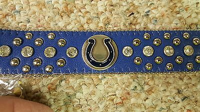 Indianapolis Colts Blue Leather Belt Rhinestone Fancy Style Glitz NFL Bling L XL