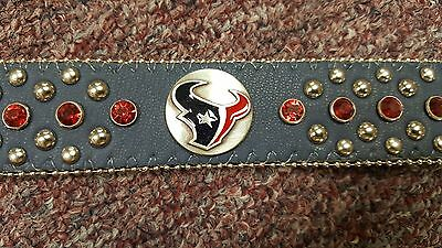 Houston Texans Blue Leather Belt Red Rhinestone Fancy NFL Glitz Bling S or XL