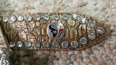 Houston Texans Beige Womens Leather Belt Rhinestone Color Glitz Bling M L XL XXL