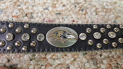 Baltimore Ravens Leather Belt Rhinestone Fancy Style Glitz Bling S M L XL XXL