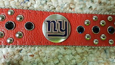 New York Giants NY Red Leather Belt Blue Rhinestone Style Glitz Bling S L XL XXL