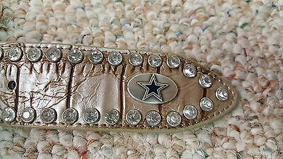 Dallas Cowboys  Beige Leather Belt Rhinestone Fancy Style Glitz Bling S M L NFL