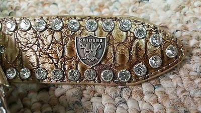 Oakland Raiders Beige Women Leather Belt Rhinestone Color Glitz Bling M L XL XXL