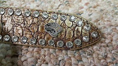 Jacksonville Jaguars Beige Womens Leather Belt Rhinestone Glitz Bling M L XL XXL