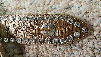 New Orleans Saints Beige Womens Leather Belt Rhinestone Glitz Bling M L XL XXL