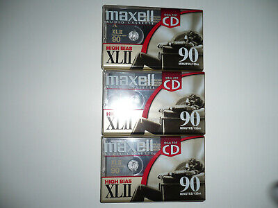 Maxell XLII 90 Blank Audio Cassette Tapes Type II 90min High Bias Qty. 3 NEW.
