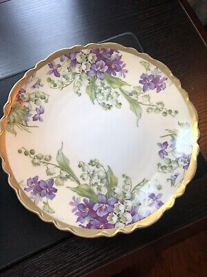 "Antique Royal Austria 7-1/2"" Deco Plate Hand Painted Purple Violets Gold"