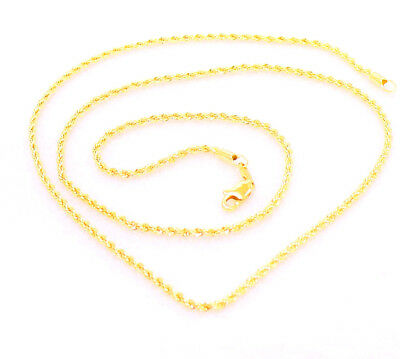 24K Yellow Gold Plated Twist Rope Lobster Chain Necklace 60cm Long Rope 3mm