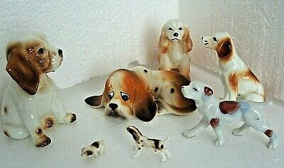 Vintage Assorted White &  Brown Bone China Dog Puppy Figurines