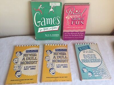 Vintage Mixed Lot Of (5) Party Games And Ice Breaker Party Tips Books