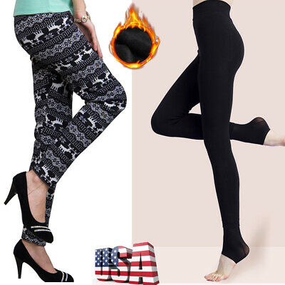 Women Thick Warm Fleece Lined Thermal Stretchy Leggings Pants Knitted Trousers