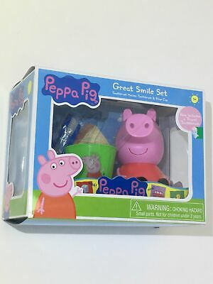 Peppa Pig🐷Great👍🏼Smile😃Set Travel Toothbrush Holder Rinse Cup Oink
