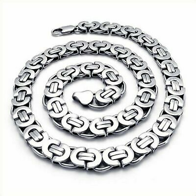 "18-40""MEN Stainless Steel Wide 9mm Silver Flat Byzantine Box Chain Necklace"
