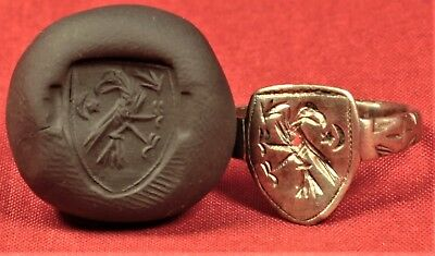 Fine Medieval Silver Knight's Seal Ring 12. Century - Bird Seal and Shield Shape