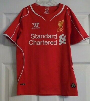 61e198dba Youth Liverpool Football Club LFC Warrior Soccer Jersey Sz S Standard  Chartered