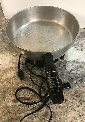 "Vtg Camfield Electric Aluminum 11"" Fry Pan Skillet BRAISING STEW Grand Haven MI"