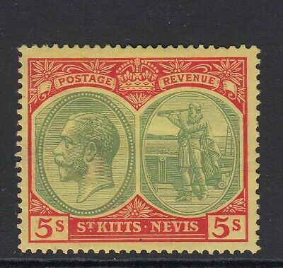 ST KITTS & NEVIS-1921-9 5/- Green & Red/Yellow.  A mounted mint example Sg 47c
