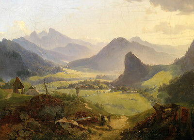 Excellent Oil painting Rural Valley landscape with mountains canvas