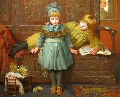 Perfect art Oil painting portraits young girls sisters reading Comic Book canvas