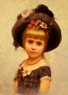 Wonderful Oil painting Beautiful young girl with hat flowers canvas