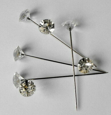 """200 Clear Gem Diamond 1.5"""" Pins Diamante Bling for Bouquets Wedding Flowers ."""