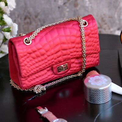 e15ebeae5b2b Chanel SATIN Classic 2.55 Reissue 226 Quilted PINK Chain Flap Bag clutch  purse