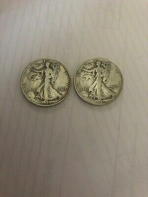 Lot Of Two Walking Liberty Half Dollars 1941 S, 1943 S
