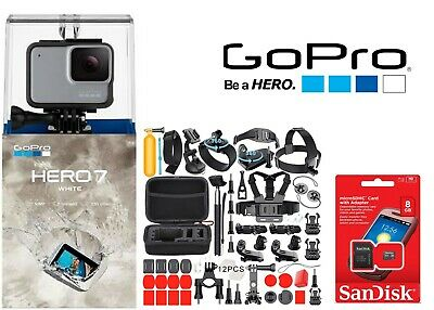 GoPro HERO7 White Waterproof Action Camera Touch Screen 50 Sports Accessories!