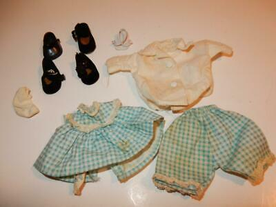 VINTAGE 1950s GINNY DOLL VOGUE TAGGED OUTFIT BLUE PLAID DRESS LOT SHOES SOCK