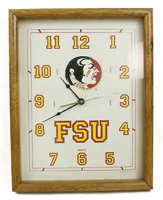 Florida State Seminoles FSU State Vintage Wall Clock Wood Frame Working