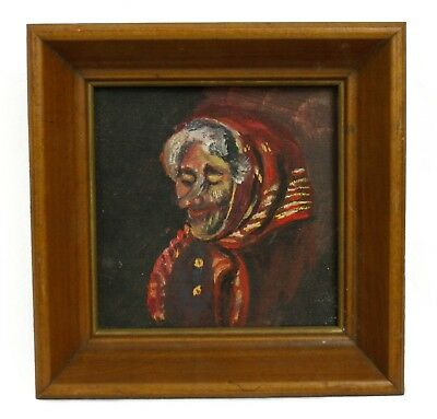 Elderly Old Woman in Head Scarf Original Oil Painting Small Wood Framed Unsigned