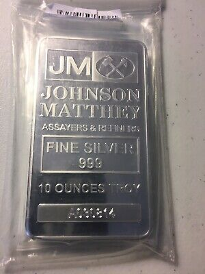 1 Johnson Matthey 10 Oz .999 Silver Bar In Mint Plastic No Longer In Production
