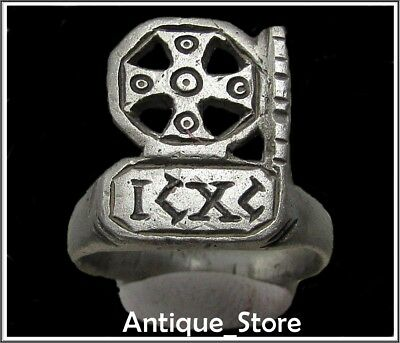 Ancient Silver Byzantine Ring** CROSS **RARE** ICXC **