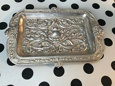 Antique Sterling Silver Vanity Tray Change  Repousse English Gods Circa 1800s