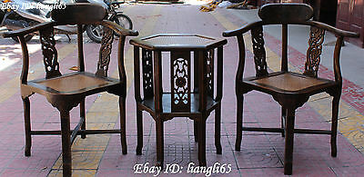 """33"""" Chinese Wood Handrail Backrest Chair Chairs Stool Desk Table Set Statue"""