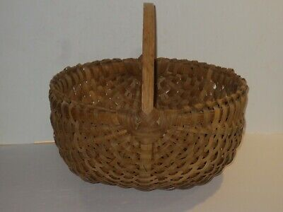 Lg Vintage-Antique Split Oak Buttocks Basket W 17 Wooden Ribs, Bent Wood Handle