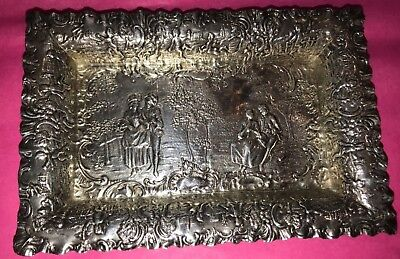Solid  Sterling Silver Card Tray Trinket Dish Antique Figural 92 Gr