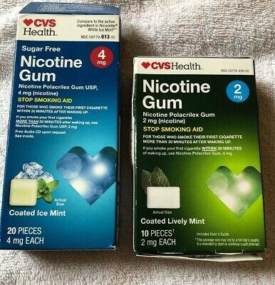 Nicotine Gum, Stop Smoking Aid, CVS,30 pieces, 20 4 mg each 10 2 Mg Ice Lively