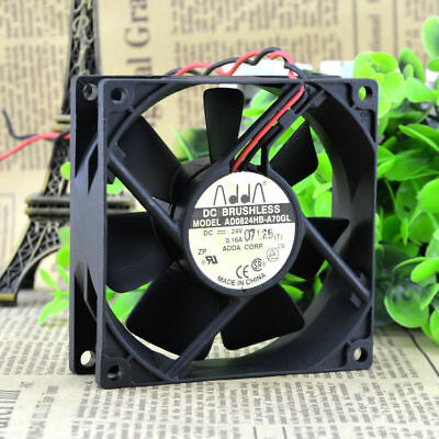 ADDA AD0824LB-A70GL 8025 FAN DC24V 0.09A  80*80*25mm 2pin Used
