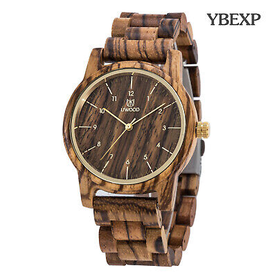 UWOOD Mens Zebra Wooden Watch Natural Solid Wood Watch for Father's day Gift