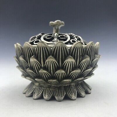 China's Tibet silver hand carved incense burner of the lotus image.   t155