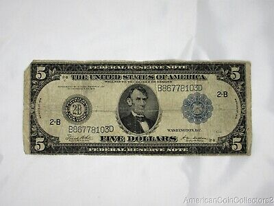 1914 $5 Dollar Federal Reserve Bank Note Bill Paper Fr 851-C New York 14463