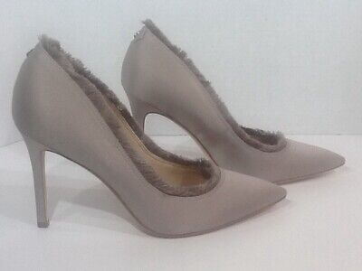 b14be2eba467 Sam Edelman Halan Women Sz 7.5 Light Grey Satin Fringe Heels Pumps Shoes  F7-233