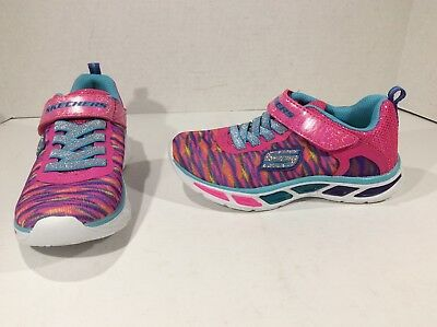 b2f5471b930c9 SKECHERS MISMATES Girls SLights Litebeams Pink Casual Shoes L 12 R 12.5 Y  F5-338
