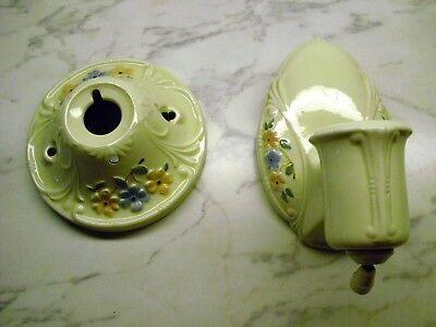PAIR MATCHING Vtg PORCELAIN BATHROOM LIGHT FIXTURE WALL CEILING FLORAL blue pink