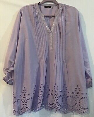 88ebfb8eef157 FYLO London XXL 2XL Purple Pastel Cotton Pintuck Eyelet Tab Sleeve Tunic Top