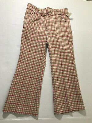 Vintage Plaid Brown Orange Boys/Kids Pants Size 6 New Deadstock RN44685