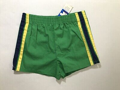 Vtg Rob Roy Kids Green Shorts Yellow Blue Stripes Size 12 Deadstock 70s 60s New